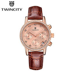 Wholesale Black Sub Watches - sub dials work TW1632 Luxury diamond women's quartz watch chronograph wristwatch automatic date sports leisure watches fashion leather strap