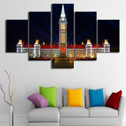Wholesale 5 Set Framed HD Printed Quebec Canada Houses Ottawa Picture Wall Print Poster Canvas Oil Painting Cuadros Decorativos