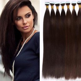 Wholesale Thick Tape Hair Extensions - 18-28inch 100g Tape Hair Extensions 40Pcs Set Blonde Brazilian Straight Tape In Human Hair Extensions Thick Skin Weft Hair Tape