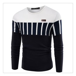 Wholesale Cotton Thicken Shirt - T Shirts for Men 2017 Autumn&winter Fashion Hit Color Stitching Long Sleeve O-neck Men's Sports Thicken Keep Warm T-shirts US Sizes:XS-XL