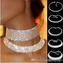 Wholesale Diamante Collars - Women Crystal Diamante Rhinestone Necklace Silver Plating Wedding Bridal Party Collar Choker Chain Necklace Jewelry Gifts b153