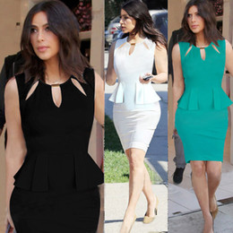 Wholesale Princess Style Women Dresses - Princess Stretch business Pencil Dress US star Celeb style Women Bodycon Pencil Party dress DK4028SY Free Shipping S-2XL Plus size