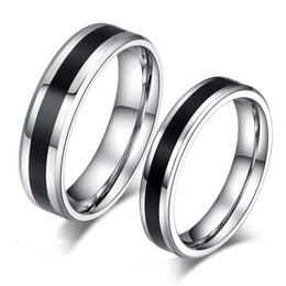 Wholesale Couples Black Wedding Bands - 316L Stainless Steel Circel Black Rings Tail Finger Rings Couple Ring for Women Men Lovers Jewelry Gift brand ring gift for couple