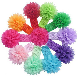 Wholesale Stretchy Lace Hair - 50 pcs baby Headwear Head Flower Hair Accessories 4 inch Chiffon flower with soft Elastic crochet headbands stretchy hair band