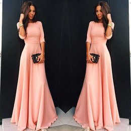 Wholesale Long Shirts For Women Simple - Simple Pink Prom Dresses 2018 1 2 Long Sleeves Floor Length Formal Evening Party Dresses Custom Made For Women