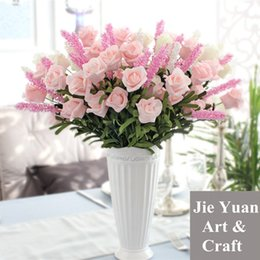 Wholesale Lavender Wedding Decorations For Home - fake lavender rose bunch for wedding banquet artificial foam flower for home decoration and for Valentine's day