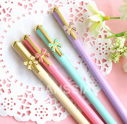 Wholesale Gel Pens Office School - Wholesale-Kawaii metal series gel pen 0.5mm Candy color style pens Office accessories School girl gift stationery supplies (ss-1255)