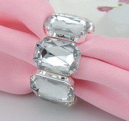 Wholesale crystal napkin rings wholesale - Wholesale- 20pcs Silver Rectangle Crystals Rhinestones Napkin Ring Serviette Buckle Holder Hotel Wedding Party Favour Decoration
