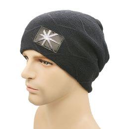 9baa82fda6d 2017 Beanies Winter Plus cashmere Hat For Men Warm British flag pattern Hat  Fashion Knitting Warm Cap Warm Wool Hat Cap Leisure Fashion