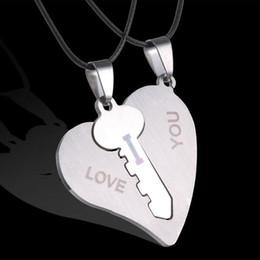 Wholesale I Love Korean - hot sale Korean Couple Necklaces Set Pendant Necklace Engrave I Love You Matching Hearts Key 316L Stainless Steel