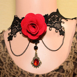 Wholesale Gothic Vintage Lace Rose Necklace - Handmade Womens Red Flower Rose Beads Drop Black Lace Choker Short Necklace Statement Lolita Gothic Vintage Ball Party Cosplay Jewelry Gift