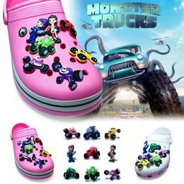 Wholesale Fit Racing - 9Pcs lot Monster Truck Racing PVC Cartoon Shoe Charms Ornaments Buckles Fit for Shoes & Bracelets ,Charm Decoration,Shoe Accessories