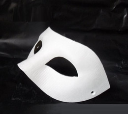 Wholesale Blank Paper Half Masks - 60pc Halloween solid white half-face DIY Zorro mask Blank paper match mask Novelty Halloween Party masquerade mask #H61