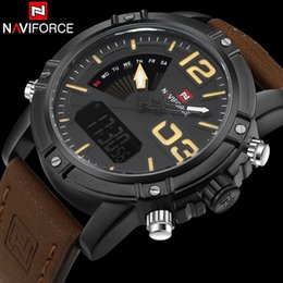 Wholesale Reloj Sport Led - Wholesale- men sport watches NAVIFORCE brand leather quartz watch LED digital watch dual display 30M waterproof wristwatches reloj hombre