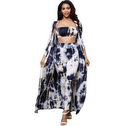 Wholesale Long Tube Top L - Women Tie-dye Three-piece suit Jumpsuit Open Front Long Cover Up + Strapless Tube Top + Long Bodycon Pant   Wholesale Cheap DHL Shipping
