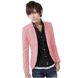 Wholesale Wholesale Fitted Suits - Wholesale- 2017Hot Sales New Arrival Spring Fashion Sapphire Color Stylish Slim Fit Men's Suit Jacket Casual Business Dress Blazers M-3XL S