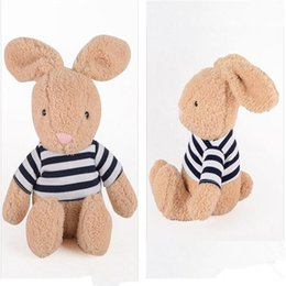"Wholesale Pink Stuffed Toy Rabbit - Baby Kids Plush Toy Doll Lovely Cartoon Rabbit Stripe Stuffed 12"" Khaki Pink Gift For Children"