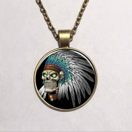 Wholesale Gothic Beaded Necklace - Hot Newest Style Round Indian Skull Glass pendant necklace vintage bronze art Photo Glass Dome Gothic necklaces Ethnic jewelry