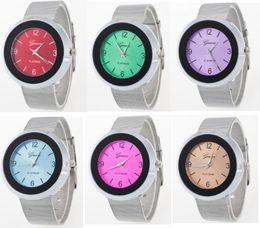 Wholesale Luxury Unisex Candy Jelly Watch - Silk Steel Quartz Watches Candy Light Luxury Geneva Men Women Unisex Casual Smart Dress Silver Jelly Analog Wristwatch Fashion Bracelet Gift