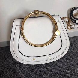 Wholesale Drawstring Leather Bracelet - 2017 Hot Sale HighEnd Style Medium Nile Bracelet Ring Circle Hoof Strap Corssbody Flap Bag Six Colors