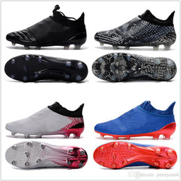 Wholesale Cheap Boots Free Shipping - 2017 Discount Cheap X 16+ Purechaos FG AG Football Shoes Men Soccer Cleats Low Cut Soccer Shoes Men's Soccer Boots Free Shipping Size 39-45