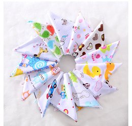 Wholesale Toddler Baby Bibs - PrettyBaby Organic Cotton Double Layers Kids Baby Bibs Towel Bandanas Triangle Burp Saliva Infant Toddler Bandana Scarf