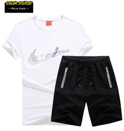 Wholesale Sports Shirts Collar - The summer men's sports suit round collar T-shirt shorts pure cotton breathable running clothes wholesale sale 1986