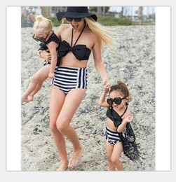 Wholesale Matching Swimwear - 2017 Family Matching Outfits Mother And Daughter Summer Swimsuit Kids Parent Black Striped Swimwear Baby Girls Clothes Family Look