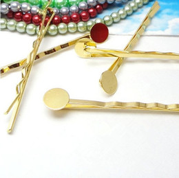 Wholesale Barrette Findings Wholesale - 100pcs Wholesale GOLD 8mm Glue Pad Blank Fashion Barrette Bobby Pin Hair Clip DIY Hair Finding&Settings for Women