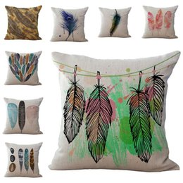 Wholesale Dyed Feathers Wholesale - Bird Feather Pattern Pillow Case Cushion cover Linen Cotton Throw Pillowcases sofa Bed Pillowcover DROP SHIPPING
