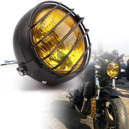 Wholesale Cg125 Motorcycle - Motorcycle Black Metal Retro 12V Hi Low Bean Blub Yellow Lens Front Headlight+Grill Mask For Honda CB100 CB125S CL GN125 CG125