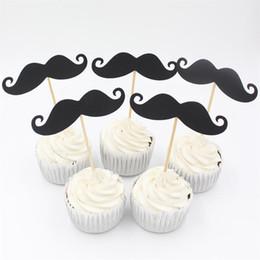 kleine manndekorationen Rabatt Großhandels-Little Man Black Moustache Cupcake Topper Dekoration für Baby Shower Kids Birthday Party begünstigt Dekoration Supplies