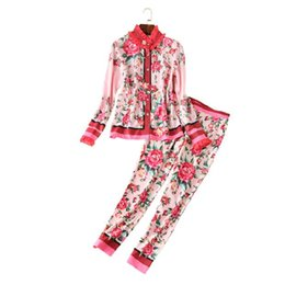 Wholesale Runway Suits - The new Europe and the United States women's 2017 spring The runway looks retro rose long sleeve shirt + feet pants suit