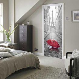 3D стикер двери DIY росписи имитация Париж Эйфелева башня водонепроницаемый самоклеющиеся наклейки двери спальня Home Decor ПВХ обои от