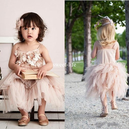 Wholesale Cute Simple Dresses - Cute 2017 A line Flower Girl Dresses Spaghetti sleeveless with 3D-Floral Appliques Empire Tulle Tiered Skirt Tea Length Simple Birthday Gown