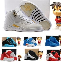 Wholesale Age B - Kids Basketball Shoes Retro 12 Children Shoes OVO White New Cheap Age Girls Boys Year Knitting Sizing Invisible Athletics Cheap Sneakers