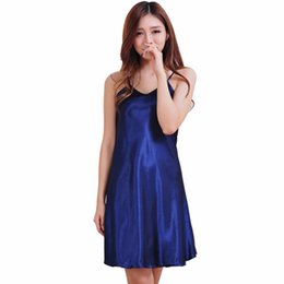Wholesale Satin Babydoll Nightwear - Wholesale- Women Ladie Sexy V Neck Satin Silk Lingerie Nightgowns Sleepwear Home Mini Night Dress Babydoll Robe Nightwear chemise de nuit