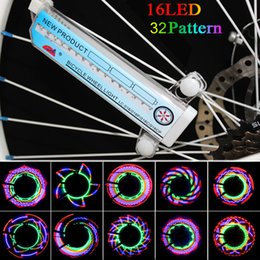 Wholesale Colorful Tire Lighting - Hot Selling Bike Lights 16 Colorful LEDs Cycling Bike Wheel Signal Tire Spoke Light 30 Changes Bicycle Accessories Free H8084UV