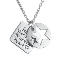 Wholesale Tin Tags Wholesale - Unique Design Silver Plated Personlized Tag Follow Your Dreams Trust Your Heart Star Pendant Necklace