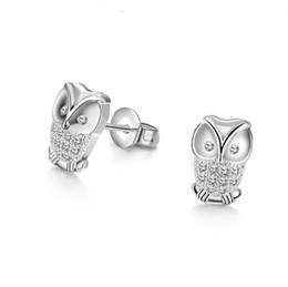 Wholesale Owls For Earrings - wholesale Fashion jewelry New women crystal earrings owl Crystals from Swarovski multi-color available for women's present