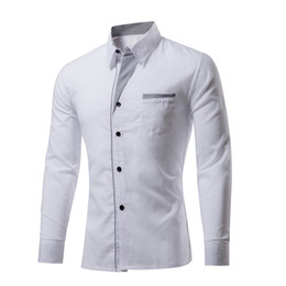 Wholesale Office England - Cotton Long Sleeve Men Solid Dress Shirts Formal Office Business Men Casual Shirt England Style Design 2017 Autumn High Quality