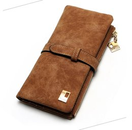 Wholesale Drawstring Purses - 2017 New Fashion Women Wallets Drawstring Nubuck Leather Zipper Wallet Women's Long Design Purse Two Fold More Color Clutch