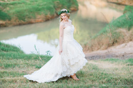 Wholesale Handmade Long Skirts - Lace High Low Country Wedding Dresses 2017 Plus Size with Tiered Skirt and Lace Up Back Real Bridal Gowns Handmade vestidos de novia