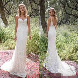 Wholesale Corset Wedding Dress Sheath - Limor Rosen 2017 Sexy Spaghetti Straps Backless Sheath Wedding Dresses Country Style Full Length Lace Corset Wedding Dress