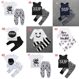 Wholesale Wholesale Lighting T Shirts - INS Newborn baby spring summer clothing set Outfits short sleeves T shirt pants Kids Clothes Boys summer clothing