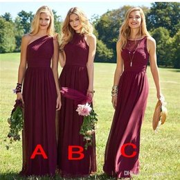 Wholesale Long Formal Dresses For Cheap - 2017 New Elegant Burgundy Bridesmaid Dresses Wedding Guest Dress Sweep Train Chiffon Cheap Formal Gown for Wedding Party Custom Made