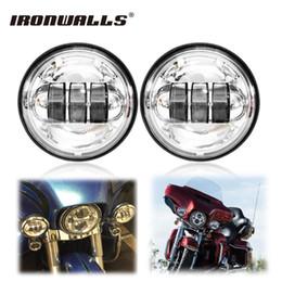 "Wholesale Headlights Custom - Ironwalls 2x 4.5"" Motorcycle LED Auxiliary Fog Lights Headlight Cree Chips H4 6000K LED Driving For Harley Davidson Dyna Custom"