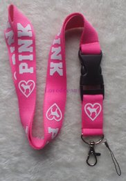 Wholesale Custom Neck Lanyards - Free shipping, 10 X New Pink color Sport Popular clothing Logo custom lanyard  neck Lanyard  mobile phone keychain  Strap Lanyard
