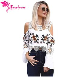 Wholesale Tee Shirt Crochet - Women's T-shirts Autumn Black White Crochet Cold Shoulder Long Bell Sleeve Crop Top Short Tees Blusas Mujer LC25910 17410
