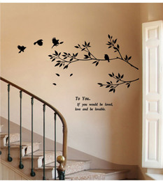 Wholesale Birds Wall Decal - 9057 New Tree Branch Black Bird Art Wall Stickers To You If You Would Be Loved Motivation Decals Removable Vinyl